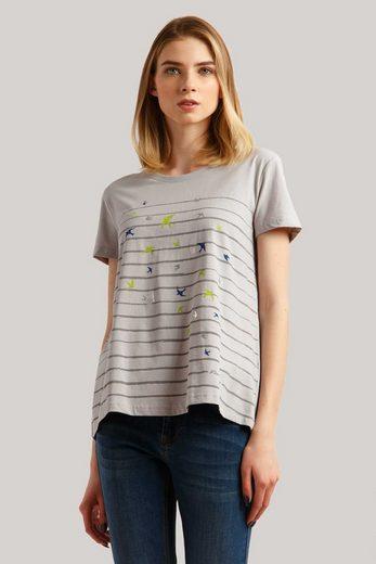 Finn Flare T-Shirt mit niedlichem Vogelprint