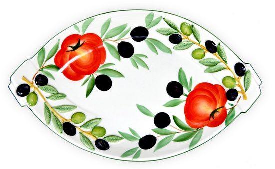 Lashuma Obstschale »Tomate Olive«, Keramik, (Packung, 1-tlg), Ovale Keramikschüssel, Servierschale 32x20 cm