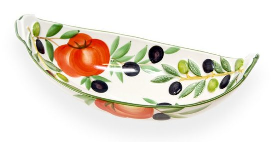 Lashuma Salatschüssel »Tomate Olive«, Keramik, (Packung, 1-tlg), Ovale Servierschüssel, Keramikschale 30x15 cm