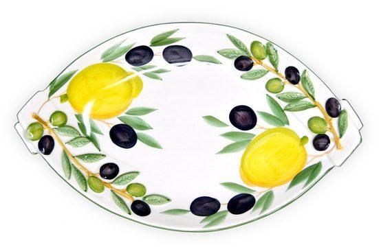 Lashuma Servierschale »Zitrone Olive«, Keramik, (Packung, 1-tlg), Keramikschale Mediterran, Servierschüssel 32x20 cm