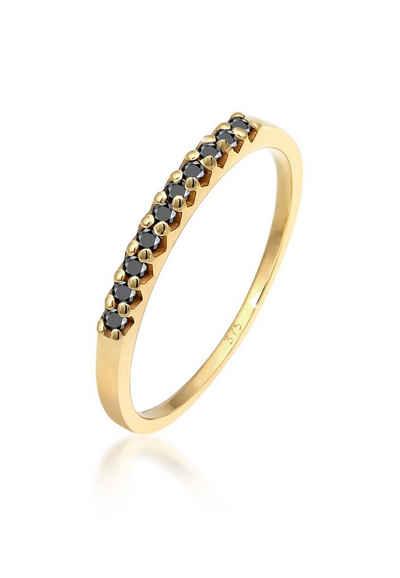 Elli Diamantring »Geo Schwarzer Diamant (0.15 ct) 375 Gelbgold«