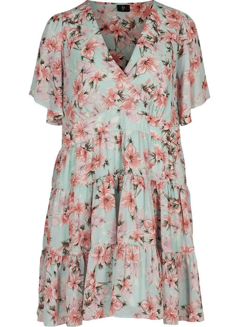 ZAY Abendkleid Große Größen Damen Kurzarm Kleid mit Blumenprint und V Ausschnitt