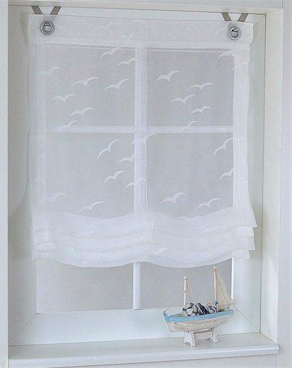 Raffrollo »Seabird«, Kutti, mit Hakenaufhängung, freihängend, mit Hakenaufhängung