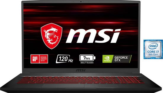 MSI GF75 9SD-016 Thin Notebook (43,9 cm/17,3 Zoll, Intel Core i7, GeForce, 512 GB SSD)