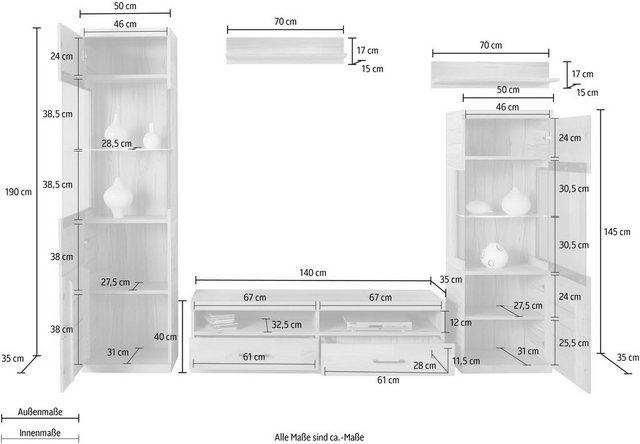 Wohnwände - Woltra Wohnwand »Sienna«, (Set, 5 St), teilmassives Holz  - Onlineshop OTTO