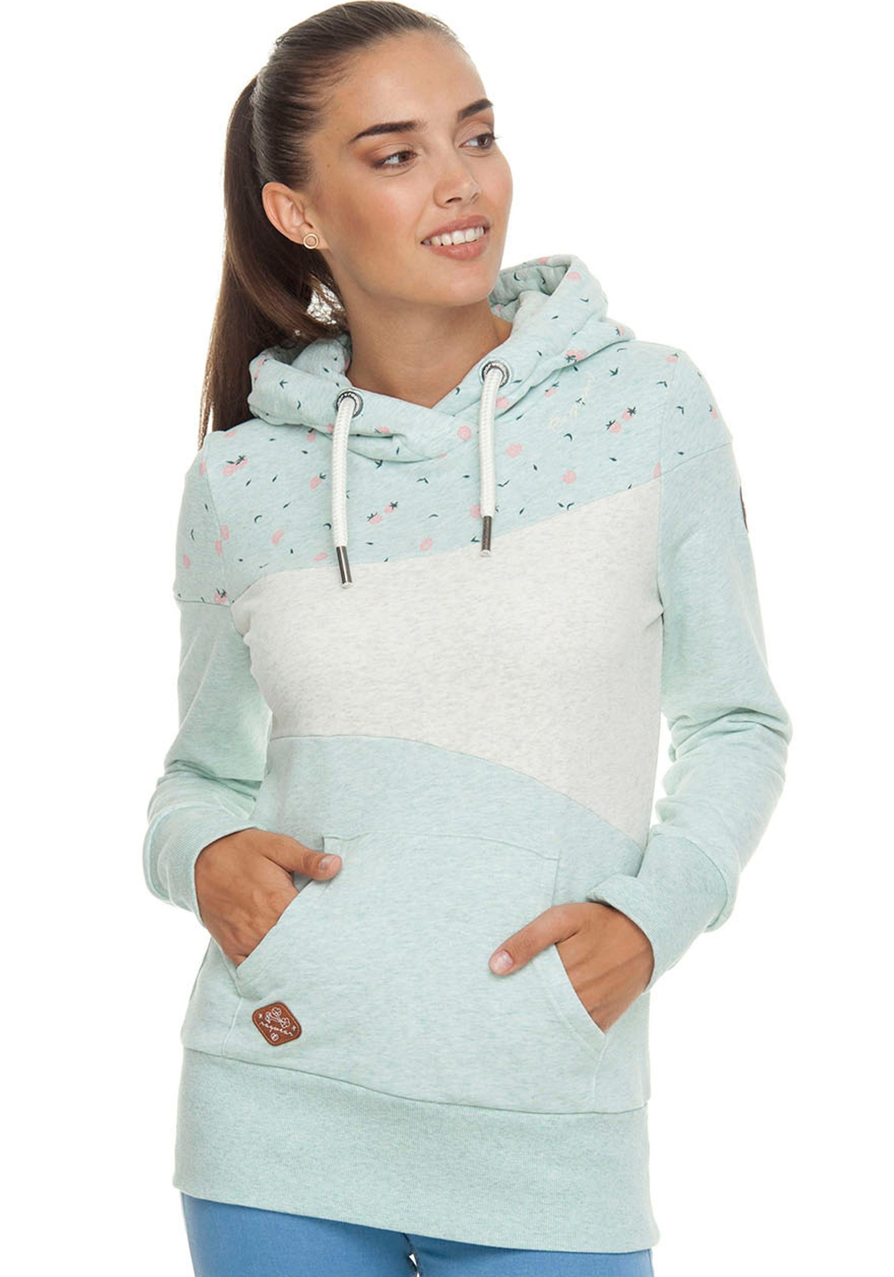 Angesagter Damen Sweat-Pullover//Hoodie mit hohem Kragen /& Kängurutasche Gr.M-XXL