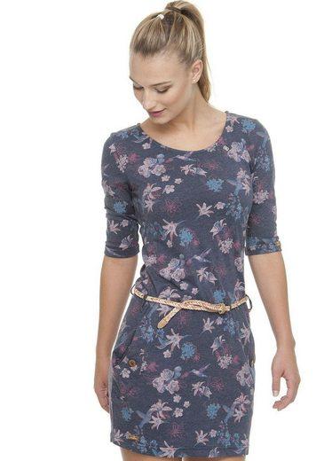 Ragwear Jerseykleid »TANYA FLOWERS E« (mit abnehmbarem Gürtel) mit multicolor Flower-Print inklusive Flechtgürtel