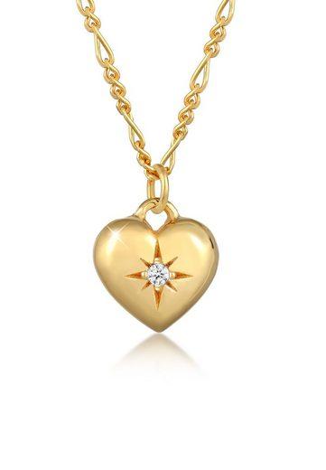 Elli Collierkettchen »Herz Kristalle Figaro 925 Silber«