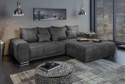 riess-ambiente Sofa »ELEGANCIA 280cm grau (XXL)«, 1 Teile, Big Sofa · mit Federkern · inkl. Kissen · Couch · Microfaser