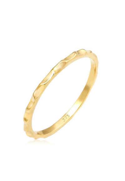 Elli Fingerring »Stacking Facetten Basic 375 Gelbgold«