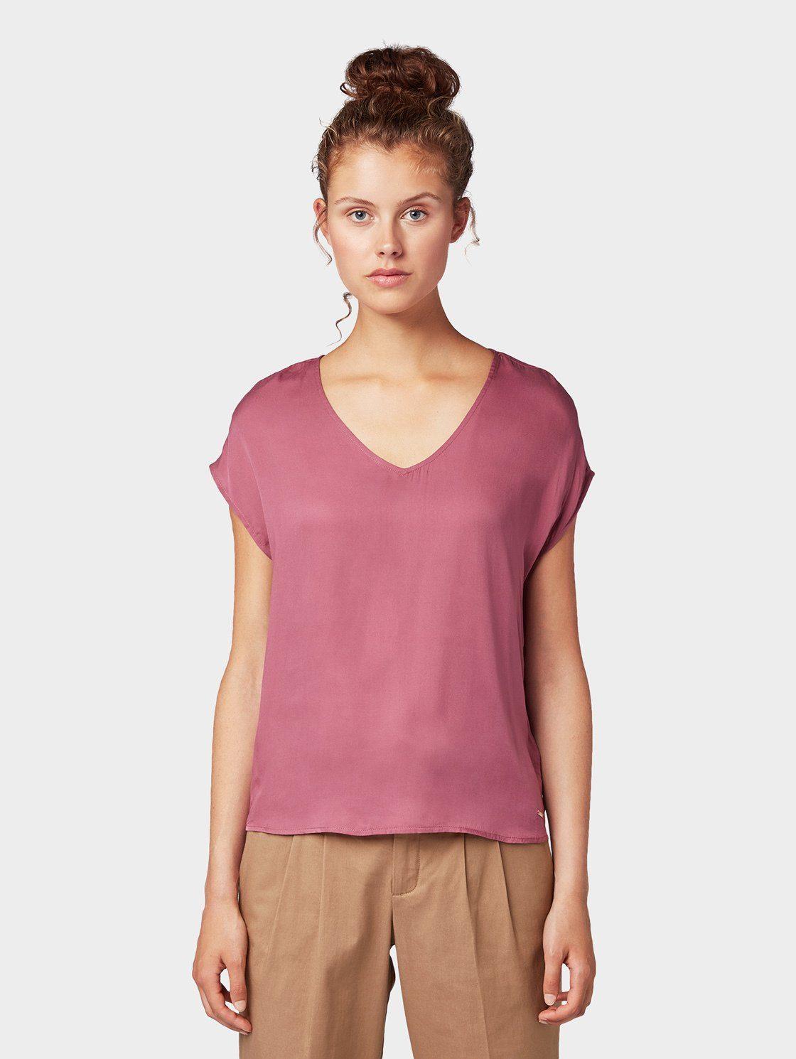 Boysen's Longshirt Mit Dezentem V-ausschnitt Mauve
