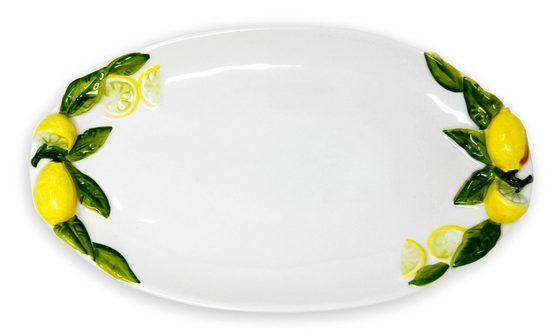 Lashuma Servierplatte »Zitrone«, Keramik, (Packung, 1-tlg), Italienischer Keramikteller, Obstplatte 34x19