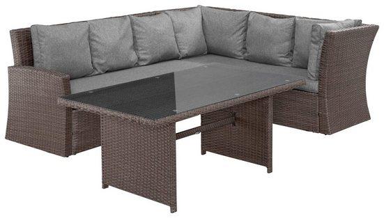 MERXX Loungeset »Mallorca«, 13-tlg., 2x 3er-Sofa, Tisch 150x85, Polyrattan