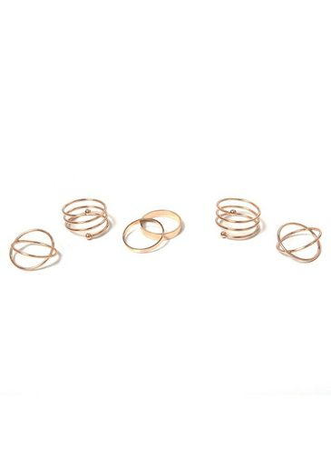 J.Jayz Ring-Set »in teilweise mehrreihiger Optik« (Set, 6-tlg)