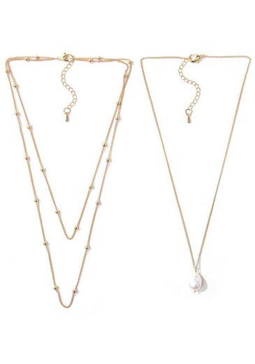 J.Jayz Collier-Set »im schlichten Design mit Metallkugeln und Perle, mehrreihig, einzeln tragbar« (Set, 2-tlg), mit Süßwasserzuchtperle