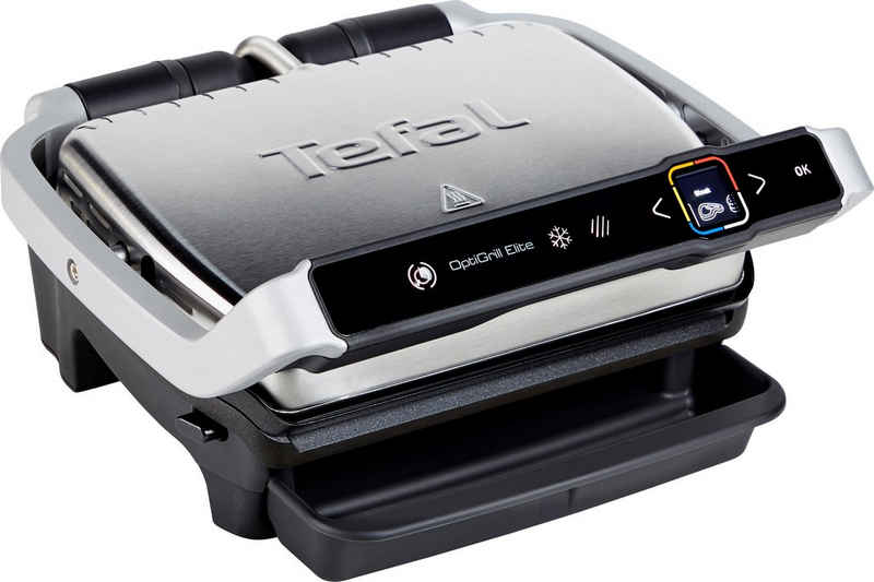 Tefal Kontaktgrill GC750D OptiGrill Elite, 2000 W, sekundengenauer Timer, Digital-Display, Grillboost Funktion