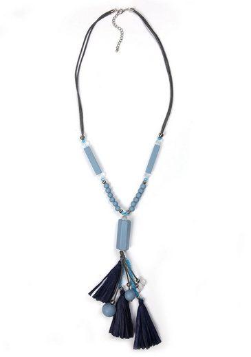 J.Jayz Kette mit Anhänger »teilweise mehrreihig und mit blauen Quasten«, mit Holz- und Glasperlen