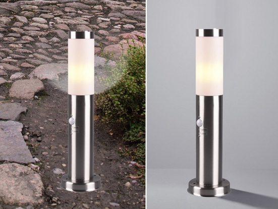 meineWunschleuchte Sockelleuchten, Außensockelleuchte mit Bewegungsmelder 45cm Edelstahl, Außen-Wegeleuchte Gartenlampen Stehlampe rund