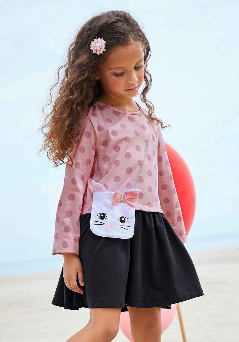 KIDSWORLD Jerseykleid mit appliziertem Glitzerband und kleiner Tasche