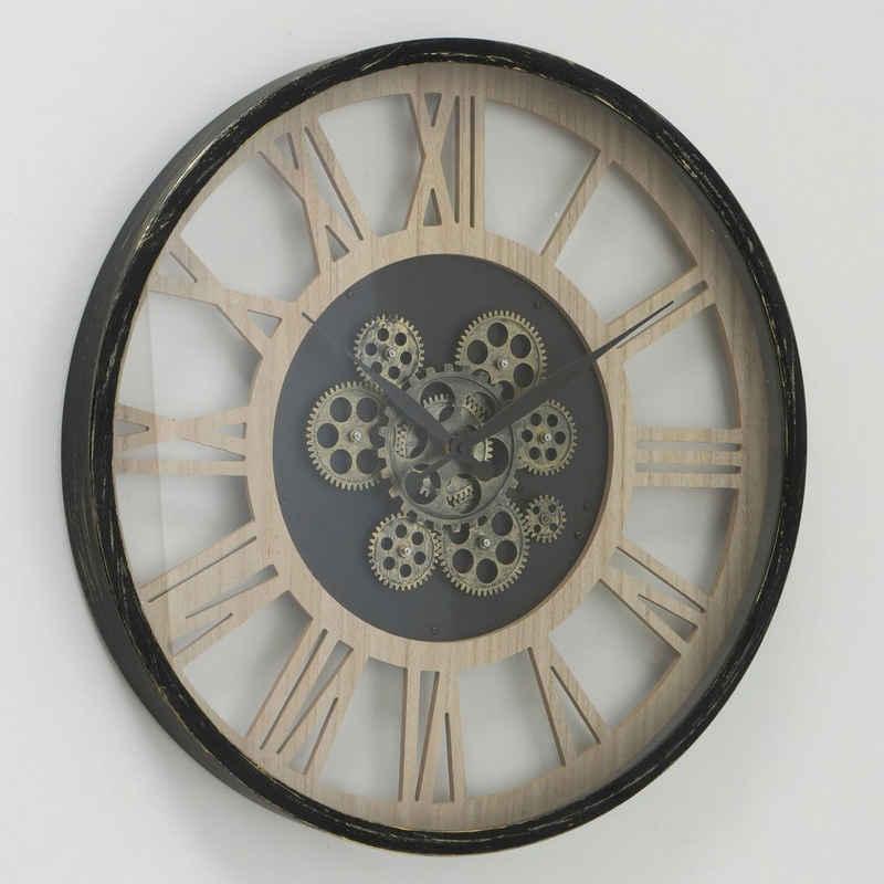 my home Wanduhr »Takto« (XXL, rund, Ø 57 cm, Eisen, römische Ziffern)