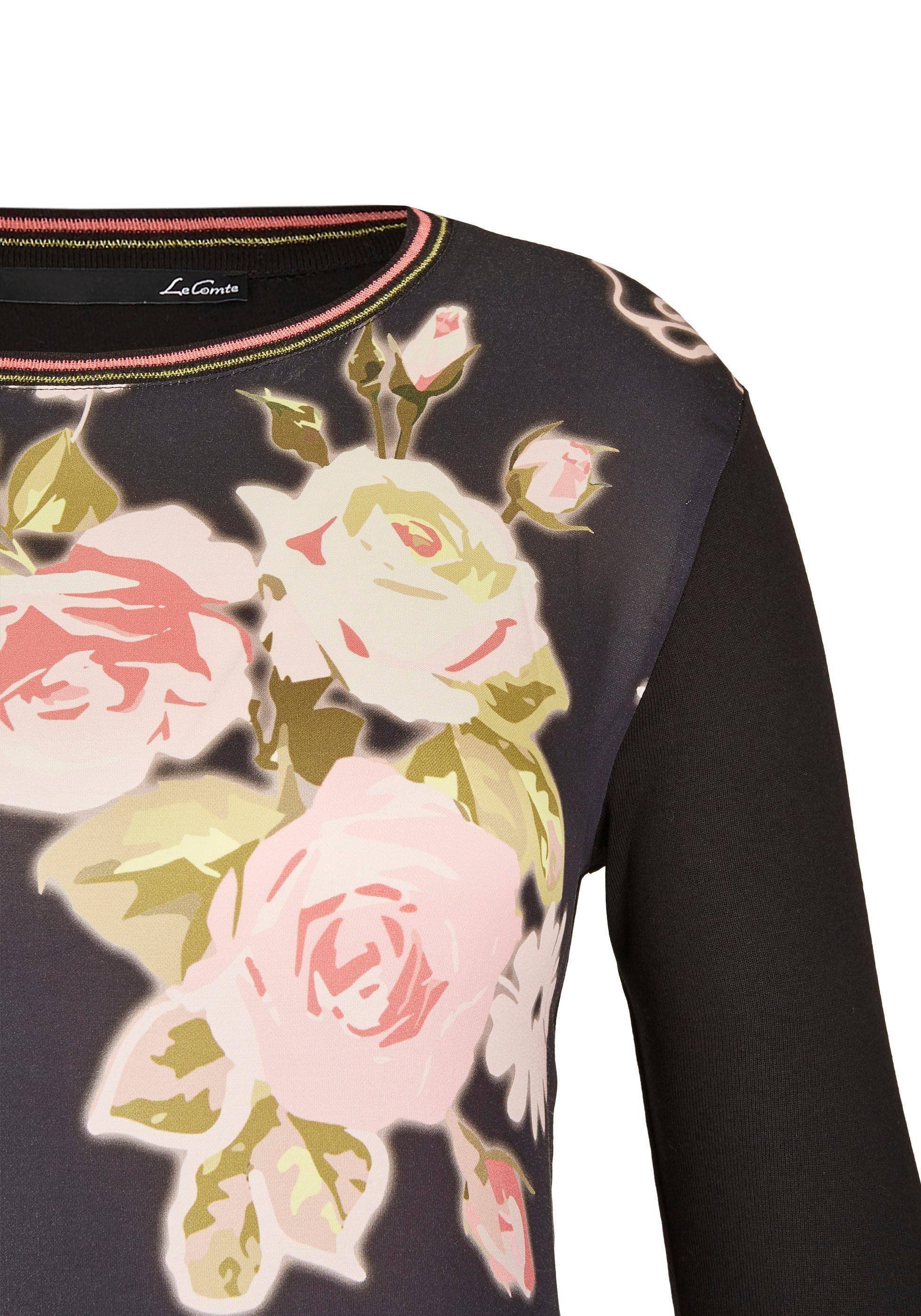LeComte Blusenshirt mit Blumendruck und Material-Mix online kaufen qmmlgC