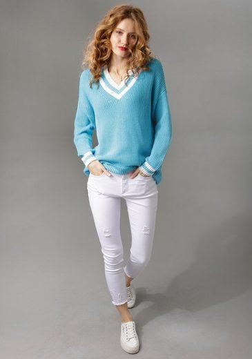Aniston CASUAL V-Ausschnitt-Pullover mit gestreiften Bündchen - NEUE KOLLEKTION