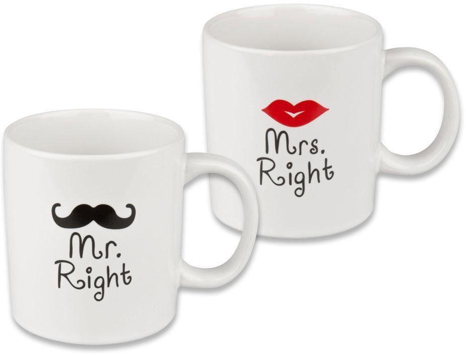 2er Set Mr /& Mrs Kaffee Porzellan-Becher-TEE-Cafe-Becher-Tasse 2 Stück NEU