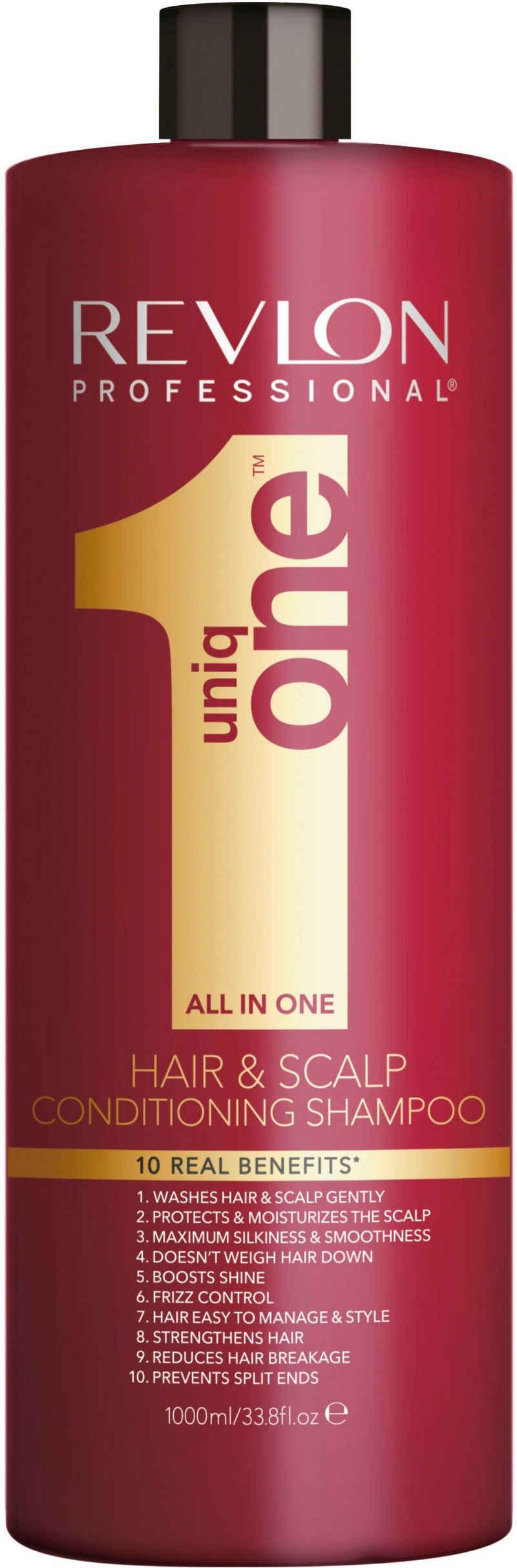 REVLON PROFESSIONAL Haarshampoo »Uniq One All in One Hair & Scalp Conditioning Shampoo«, beschwert nicht