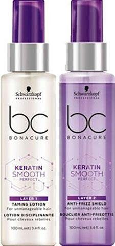 Schwarzkopf Professional Leave-in Pflege »BC Bonacure Smooth Perfect Duo Layering Treatment«, Set, 2-tlg., 2-Phasen-Pflege für gesundes Haar