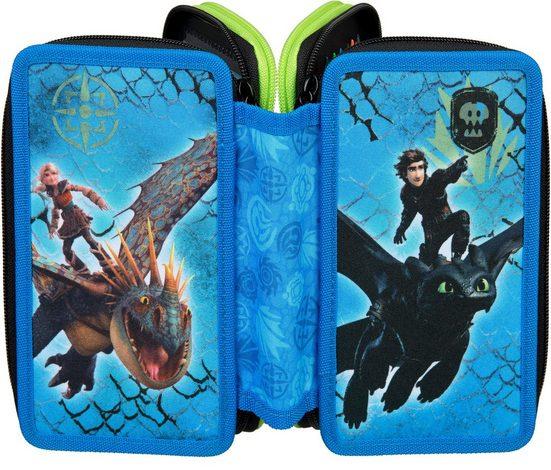 Scooli Schreibgeräteetui »Triple Decker, Dragons«, befüllt, inkl. Geodreieck