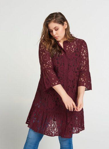 Zizzi Spitzenkleid Damen Große Größen Spitzenkleid 3/4 Arm Spitze Elegant Abendkleid