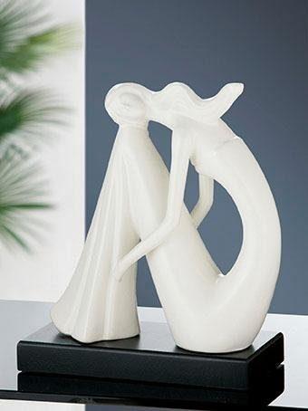 Deko Objekt Artikel abstrakte Skulptur Figur Dekofigur mit silber Kugel Keramik