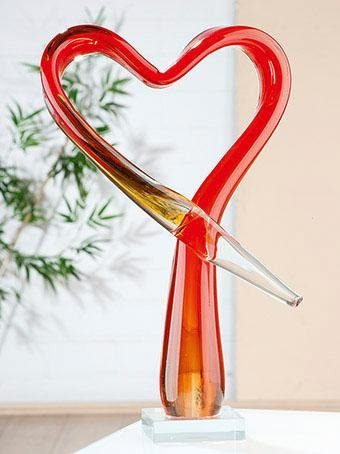 GILDE GLAS art Dekoobjekt »GLAS Art Skulptur Herz« (1 Stück), Dekoration aus durchgefärbten Glas, mundgeblasen