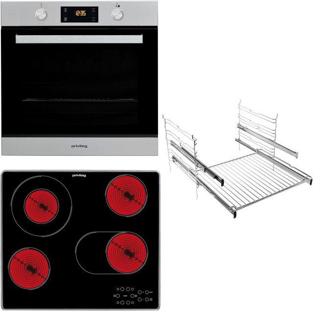 Küchengroßgeräte - Privileg Backofen Set BAKO Turn Cook 400, mit 2 fach Teleskopauszug, Pyrolyse Selbstreinigung, mit Restwärmeanzeige  - Onlineshop OTTO