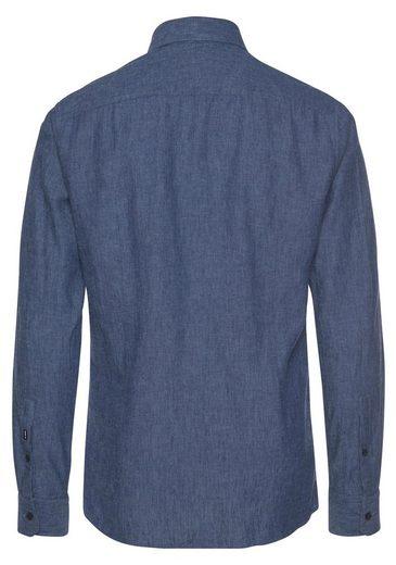 Joop Jeans Langarmhemd in Leinenoptik, mit Haifischkragen