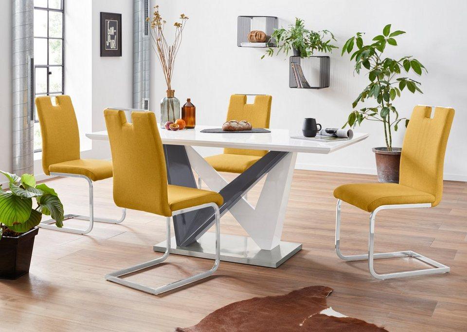 Essgruppe, mit 4 Stühle, Sitz und Rücken gepolstert Polyester online kaufen   OTTO