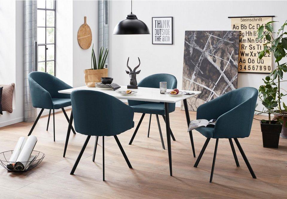 Essgruppe, mit 4 Stühle, Sitz und Rücken gepolstert Webstoff online kaufen   OTTO