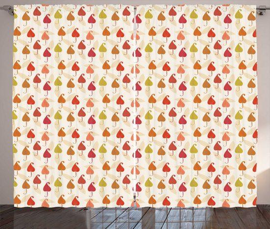 Gardine »Schlafzimmer Kräuselband Vorhang mit Schlaufen und Haken«, Abakuhaus, Blätter Abstrakte Herbst-Blatt-Kunst