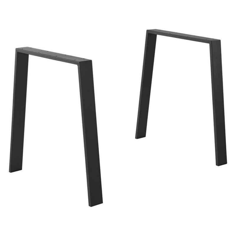 en.casa Tischgestell, »Kemi« Tischuntergestell 2er Set Tischbein DIY Esszimmertisch Tischkufen 55/75x72cm Schwarz