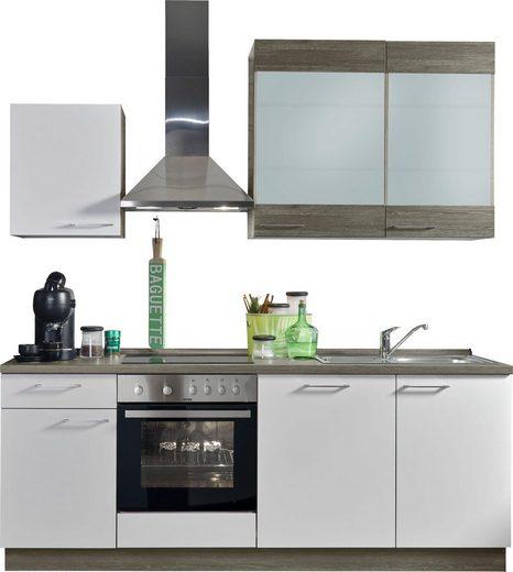Express Küchen Küchenzeile »Trea«, mit E-Geräten, vormontiert, mit Vollauszug und Soft-Close-Funktion, Breite 220 cm
