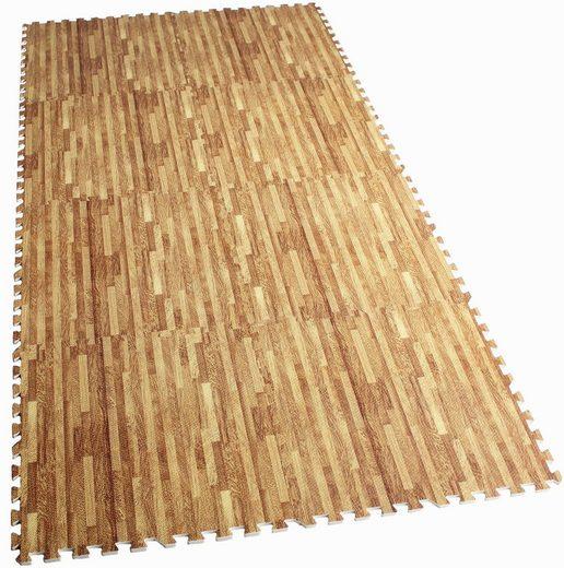 GORILLA SPORTS Bodenschutzmatte »Schutzmattenset mit acht Teilen Holzoptik« (Set), Flexibel erweiterbar, hemmt Erschütterungen bis 200 kg, Anti-Rutsch Oberfläche, Schall- und Stoßdämpfend