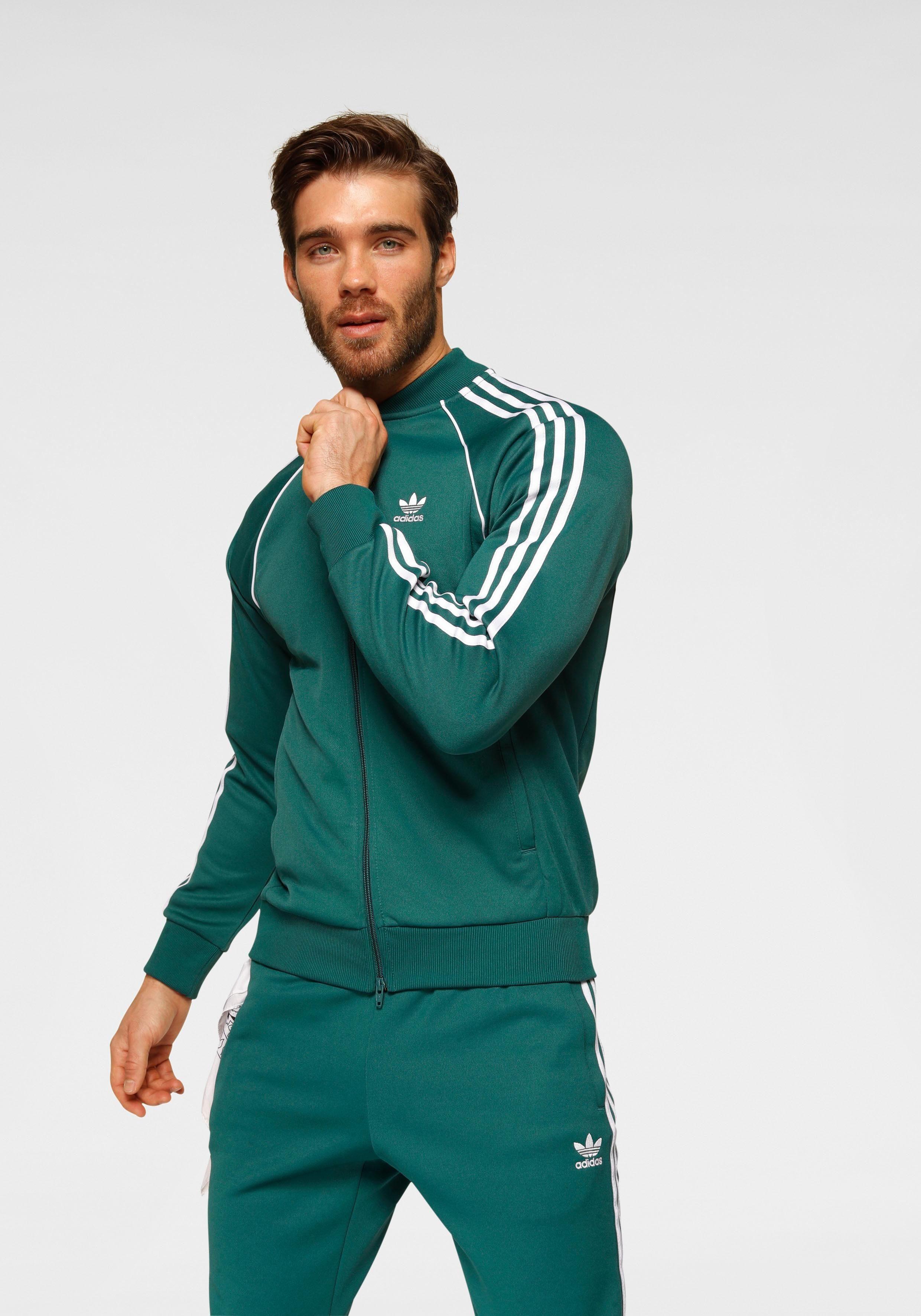 adidas Originals – adicolor – Schwarze Stadionjacke mit Kapuze und drei Streifen