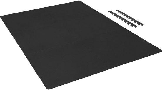 GORILLA SPORTS Bodenschutzmatte »Schutzmattenset mit Endstücken Schwarz« (Set), Flexibel erweiterbar, hemmt Erschütterungen bis 200 kg, Anti-Rutsch Oberfläche, Schall- und Stoßdämpfend