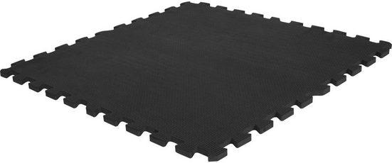 GORILLA SPORTS Bodenschutzmatte »Schutzmattenset mit acht Teilen Schwarz«, Set, 8-St., Flexibel erweiterbar, hemmt Erschütterungen bis 200 kg, Anti-Rutsch Oberfläche, Schall- und Stoßdämpfend