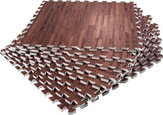 GORILLA SPORTS Bodenschutzmatte »Schutzmattenset mit acht Teilen Holzoptik Dunkel« (Set)