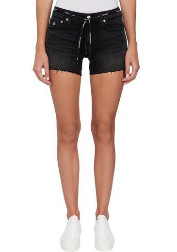Calvin Klein Jeans Shorts »MID RISE SHORT« (2-tlg) mit leicht ausgefranstem Saum