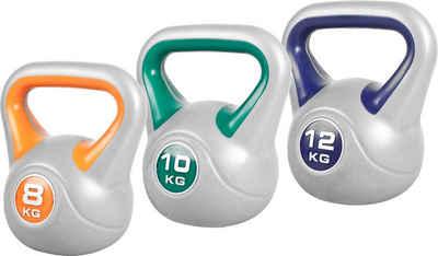 GORILLA SPORTS Kettlebell »Kettlebell Set 8 kg, 10 kg, 12 kg Kunststoff 30 kg«, 30 kg, (3-tlg)