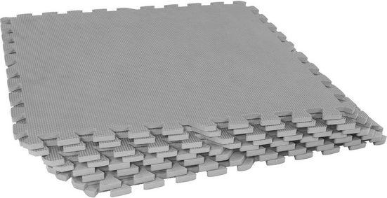 GORILLA SPORTS Bodenschutzmatte »Schutzmattenset mit acht Teilen Grau« (Set), Flexibel erweiterbar, hemmt Erschütterungen bis 200 kg, Anti-Rutsch Oberfläche, Schall- und Stoßdämpfend