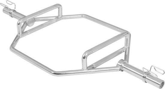 GORILLA SPORTS Olympiastange »Olympia Hantelstange Chrom Hexagon«, Chrom, Stahl, 143 cm, Hexagon Form ermöglicht unterschiedliche Griffvariationen, hochwertig verchromt