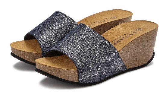 LASCANA Pantolette mit Keilabsatz und Korkfußbett